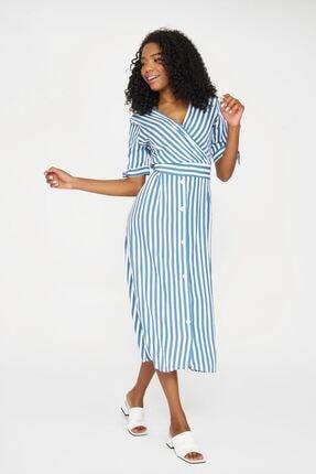 Batik Kadın İndigo Çizgili Casual Elbise Y42731