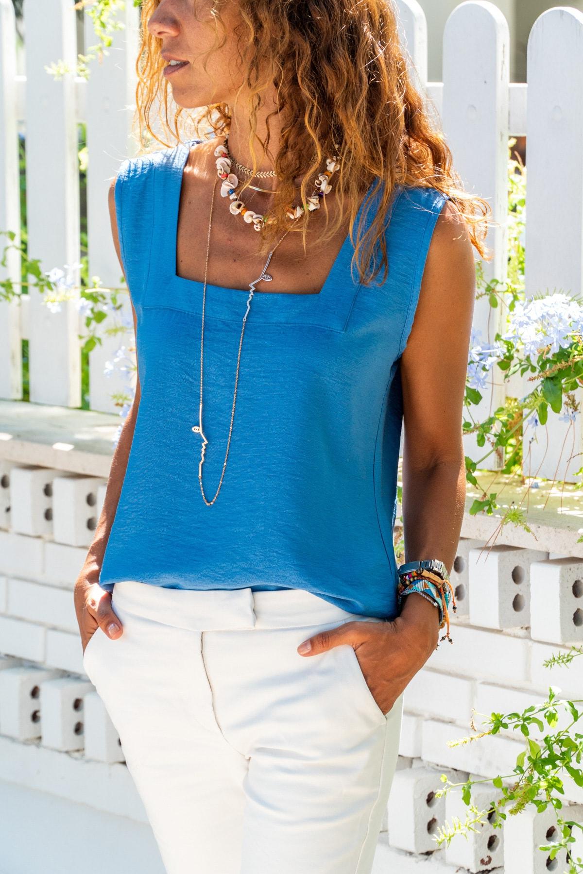 Güneşkızı Kadın İndigo Kare Yaka Keten Bluz GK-BST2911