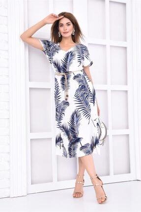 İroni V Yaka Palmiye Desenli Lacivert Viskon Elbise