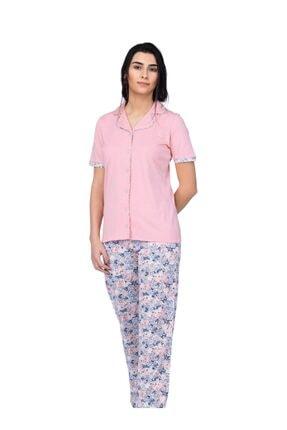 Çift Kaplan %100 Pamuk Bayan Önden Düğme Pijama Takımı 7443