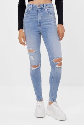 Bershka Kadın Lacivert Süper Yüksek Bel Skinny Jean