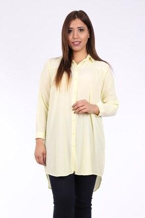 Womenice Büyük Beden Sarı Krinkıl Gömlek Tunik