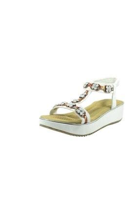Guja Kadın Beyaz 20y237-11 Ortopedik Yüksek Taban Günlük Kadın Sandalet - -  - 38