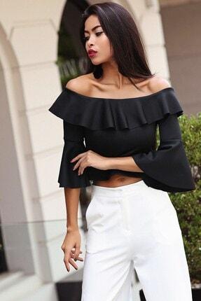 Womenice Kadın Siyah Straples Volan Kol Bluz