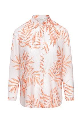 W Collection Kadın Yaprak Prıntlı Gömlek