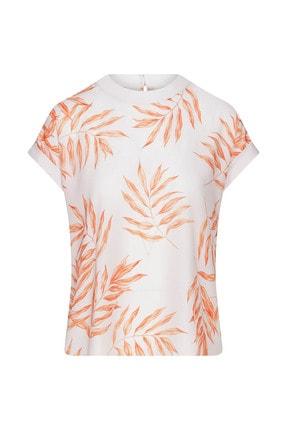 W Collection Kadın Kısa Kollu Yaprak Printli Bluz
