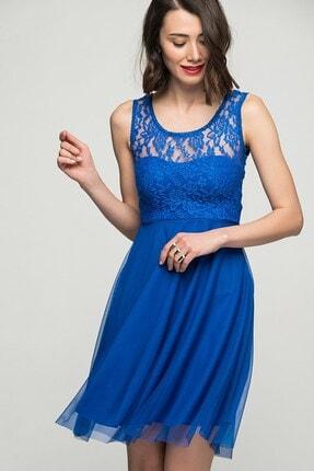 Womenice Kadın Lacivert Dantelli Tül Etek Elbise