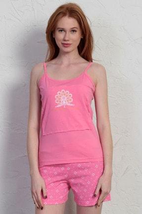 Kadın Pembe Ip Askılı Normal Beden Pamuklu Şortlu Pijama Takım 7104562328_A