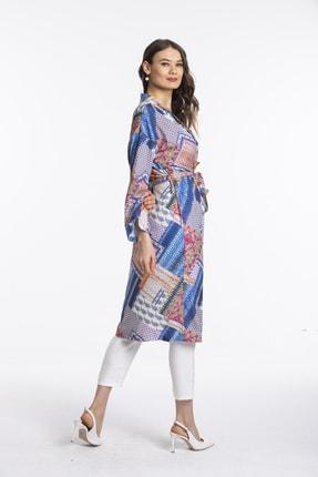Pitti Kadın Mavi Desenli Kimono