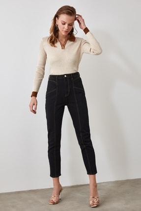 TrendyolMilla Siyah Dikiş Detaylı Yüksek Bel Mom Jeans TWOSS20JE0485