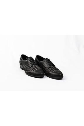 Venüs 145431 Hakiki Deri Siyah Taş Işlemeli Bağcıklı Kadın Oxford Günlük Klasik Ayakkabı