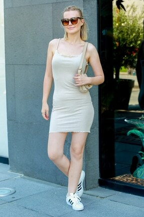 Madmext Kadın Bej Mad Girls Askılı Mini Elbise