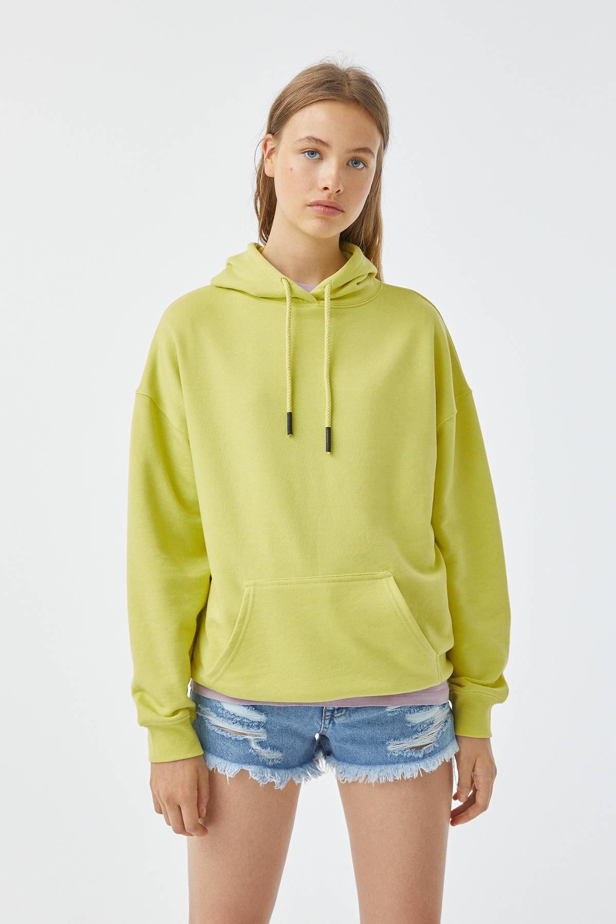 Pull & Bear Kadın Fıstık Yeşili Basic Oversize Kapüşonlu Sweatshirt 05596380