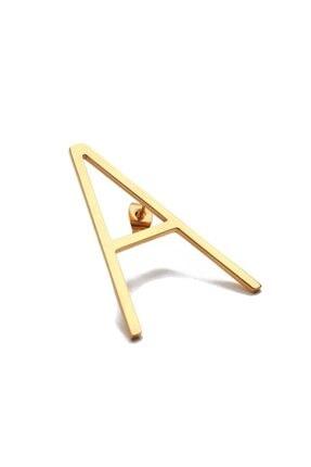 SilverPlus Kişiye Özel Harfli Altın Renk Trend Gümüş  Küpe