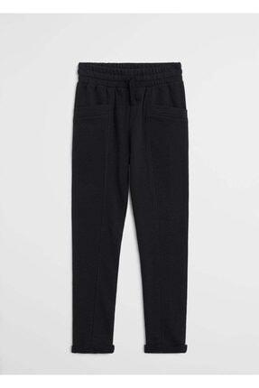 Mango Kız Çocuk Siyah Organik Pamuklu Düz Kesim Pantolon