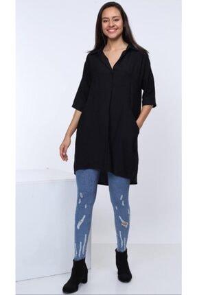 Patiska Kadın Siyah Salaş Cepli Tunik Elbise