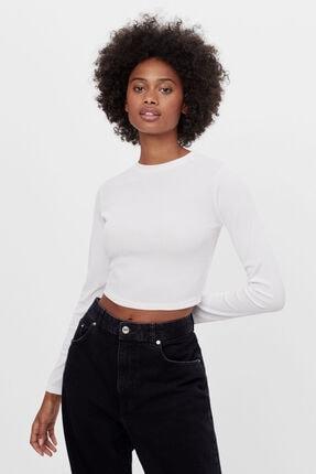 Bershka Kadın Beyaz Sırtı Bağcıklı Tişört