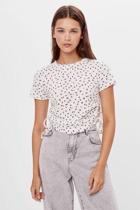 Bershka Kadın Kirli Beyaz Yanları Büzgülü T-shirt