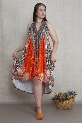 Şans Kadın Oranj Taş İşli Boyun Bağlı Elbise 65N17292