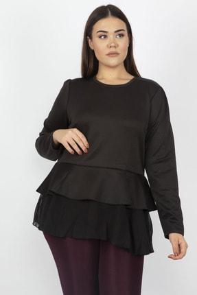Şans Kadın Siyah Etek Ucu Volan Ve Şifon Detaylı Bluz 65N17280