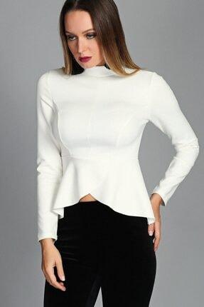 Womenice Kadın Ekru Yarım Boğaz Kruvaze Etek Bluz