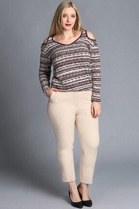 Womenice Kadın Bej Büyük Beden Klasik Kumaş Pantolon