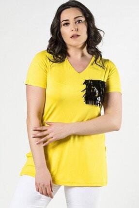 Womenice Kadın Sarı Büyük Beden Cebi Pullu V Yaka Bluz