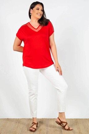 Womenice Kadın Kırmızı Büyük Beden Yakası Kolu Tüllü Bluz