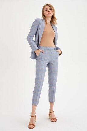 Chima Kadın Mavi Dilli Ekose Pantolon
