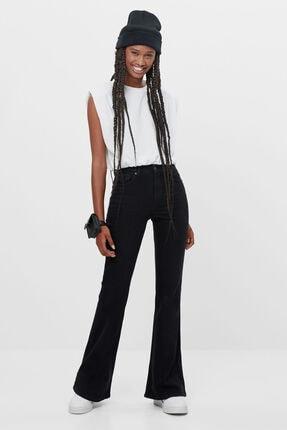 Bershka Kadın Siyah Ispanyol Paça Jean