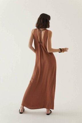 Rue Kahve V Yaka Uzun Elbise