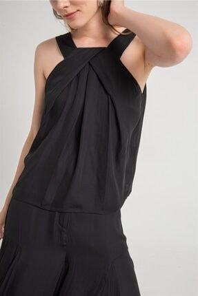 Rue Siyah Dökümlü, Kalın Askılı Bluz