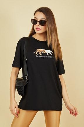 Sateen Kadın Siyah Figür Baskılı Uzun Tshirt  STN848KTS102