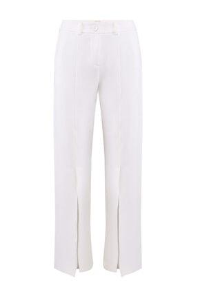 W Collection Kadın Ekru Rahat Kesim Pantolon