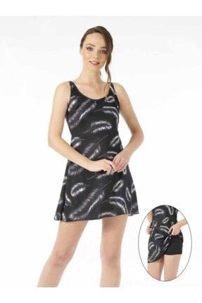 ESTİVA Kadın Siyah Beyaz Tüy Desenli Elbise Mayo