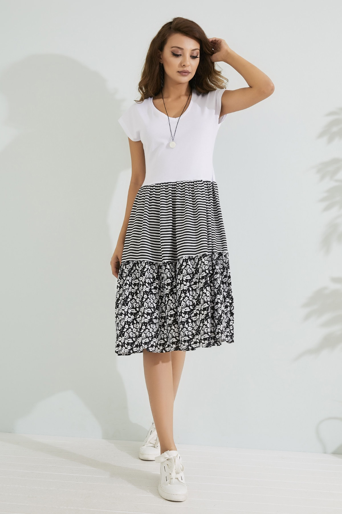 Sateen Kadın Desenli Üstü Penye Altı Poplin Elbise  STN233KEL129