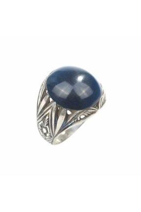 Nusret Takı Erkek 925 Ayar Gümüş Mavi Renk Sıkma Kehribar Taşlı Yüzük