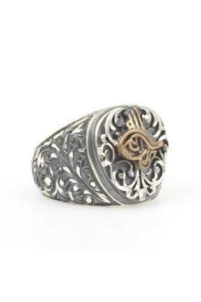 Nusret Takı Erkek 925 Ayar Gümüş Osmanlı Tuğrası Kabartmalı KalemkarYüzüğü