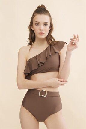 Aquella Kadın Kahverengi Volanlı Tek Omuz Bikini