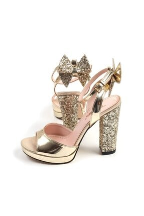 Punto Kadın Altın Bilekten Bağlamalı Kalın Topuk Abiye Ayakkabı