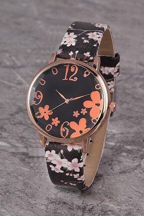 Polo55 Plkk006r01 Kadın Saat Numaralı Çiçekli Kadran Deri Kordon
