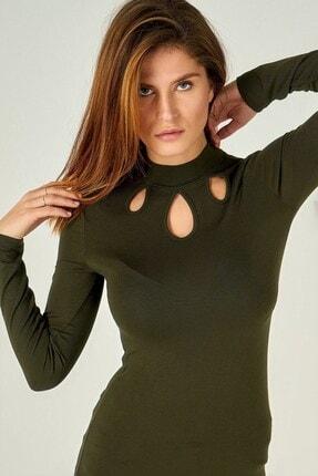 Boutiquen Kadın Haki Göğsü Damlalı Bluz