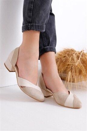 Kadın Ten Rengi Süet Topuklu Ayakkabı KDNTP00014SC