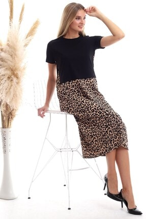 Cotton Mood Kadın Siyah Leopar Süprem Kaşkorse Kısa Kol Uzun Elbise