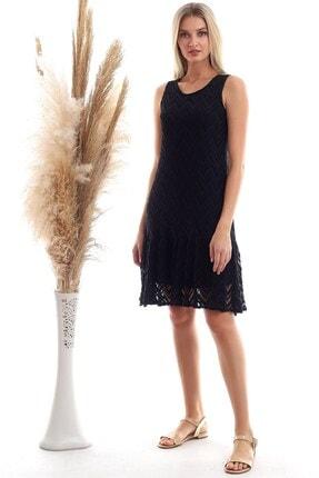 Cotton Mood Kadın Siyah File Desenli Etek Volanlı Kolsuz Elbise 20333467