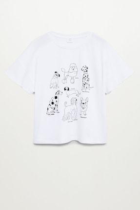 Mango Kırık Beyaz Kız Çocuk Pul Detaylı Desenli Tişört