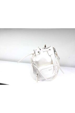 Matmazel Kadın Beyaz Büzgülü Çanta
