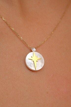Demas Gold Pırlanta 14 Ayar Altın Kutup Yıldızı Sedef Kolye