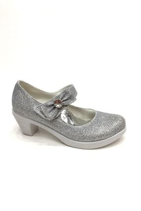 Kız Çocuk Gümüş Simli Abiye Topuklu Ayakkabı 27-35 Numara ır2735spf