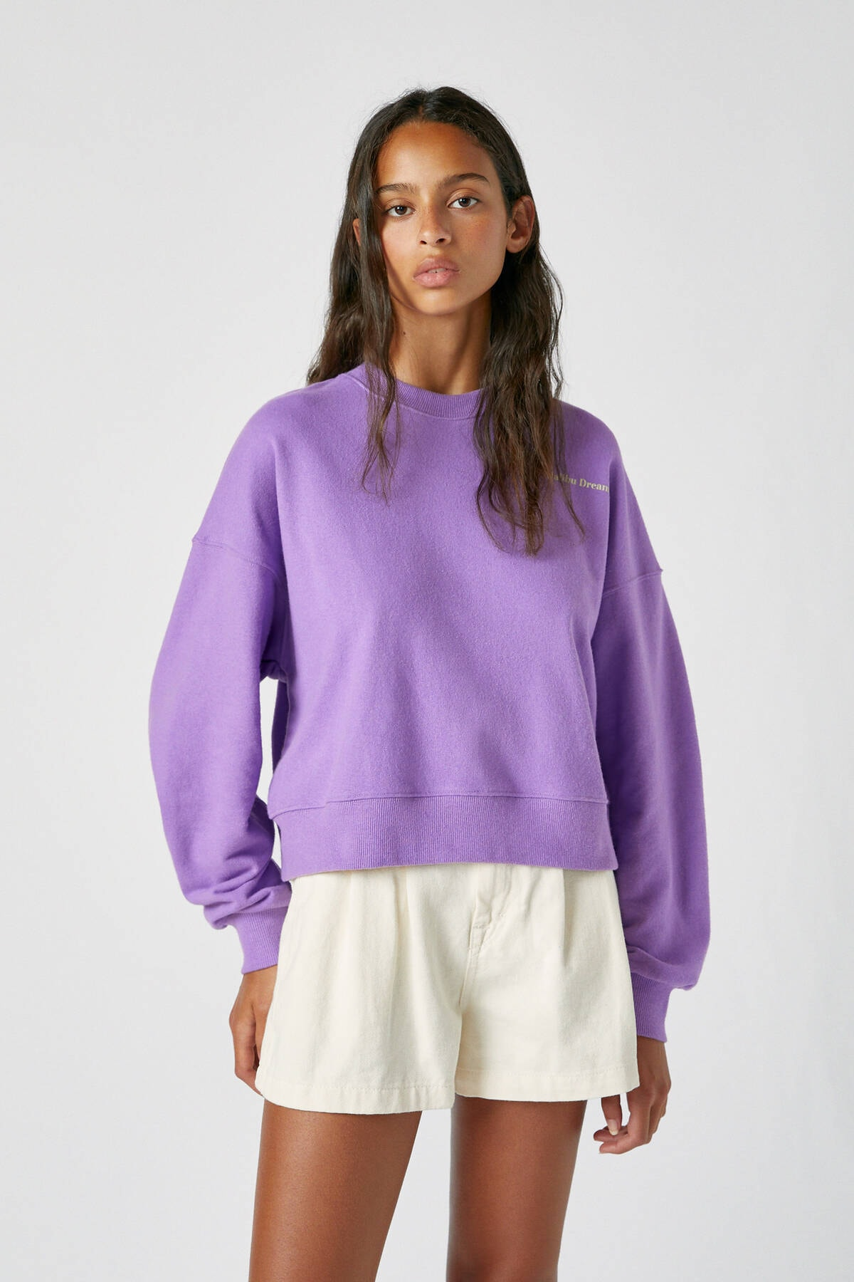 Pull & Bear Kadın Leylak Kontrast Sloganlı Uzun Kollu Sweatshirt 09594316